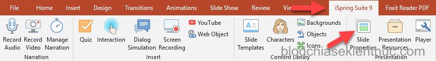 Cách thiết lập thuộc tính của Slide Properties trong iSpring Suite